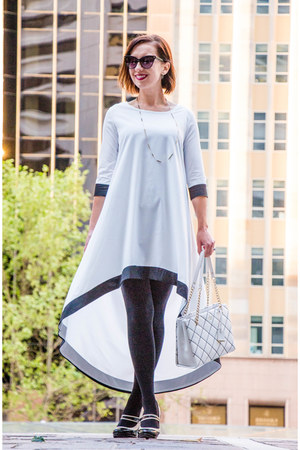 black and white makemechic dress - quilted kate spade bag
