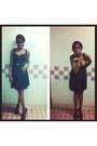 Black-guess-dress-gold-forever21-accessories-gold-zara-belt