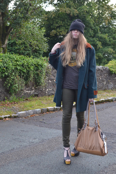 black asos hat - army green Topshop jeans - dark green vintage jacket