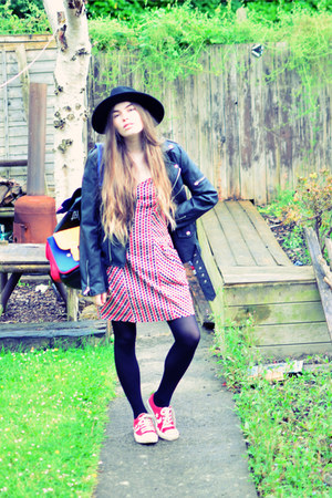 red strawberry kats dress - black H&M hat - black UNIF jacket