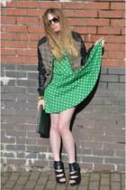 chartreuse green bracelet Dorothy Perkins bracelet - teal American Rag Cie dress