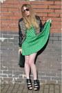 Teal-american-rag-cie-dress-wool-leather-topshop-jacket