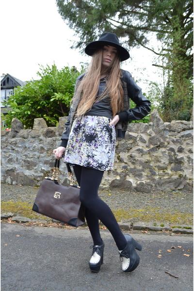 black H&M hat - black Topshop jacket - dark brown Misstella bag
