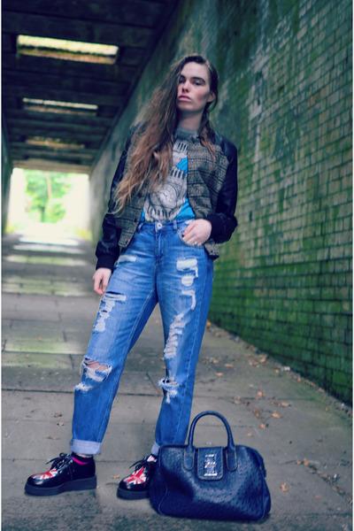 black Topshop jacket - blue asos jeans - navy market abroad bag