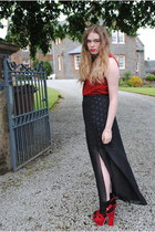 ruby red new look bag - red Primark top - black Henry Holland skirt