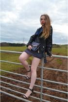 blue Max C London dress - black faux leather UNIF jacket