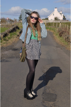 H&M skirt - new look jacket - market abroad bag - Religion sunglasses