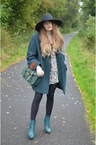 black H&M hat - teal H&M boots - dark green vintage jacket