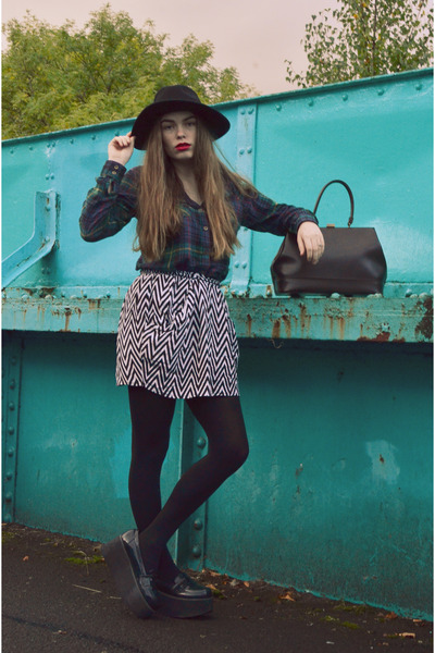black H&M hat - green George shirt - dark brown vintage bag - black H&M skirt