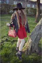 red sweatheart 50s Goldie London dress - black H&M hat - black UNIF jacket