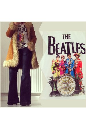 bronze vintage afghan coat - navy flared jeans jeans - white The Beatles t-shirt