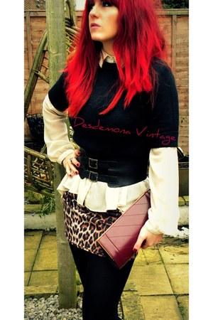 brown skirt - white shirt - maroon vintage bag - black vintage jumper