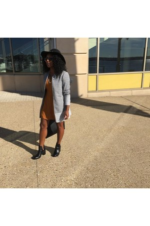 black leather Steve Madden boots - mustard Forever 21 dress - gray H&M jacket