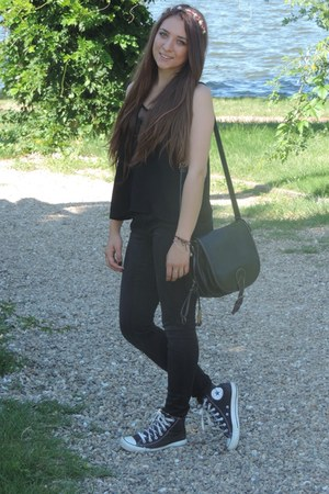 black Converse shoes - black Bershka jeans - black H&M top