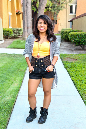 Forever 21 shirt - black Bakers boots - G-Stage shorts - Forever 21 necklace