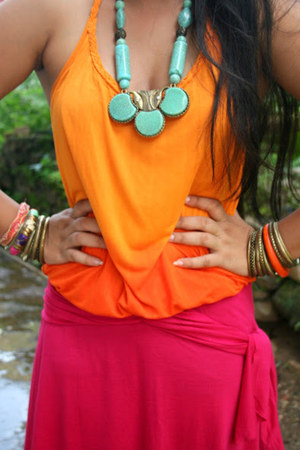 hot pink dress - carrot orange ombre top - aquamarine Street Vendor necklace