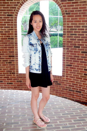 light blue acid wash denim PacSun jacket - black strapless vintage dress