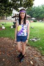 Yellow-tie-dye-t-shirt-black-charlotte-russe-boots-blue-thrifted-diy-shorts