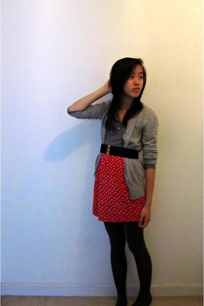 9fcf1facf523a sweater dress Forever 21 dress - kohls tights - thrifted vintage skirt -  grey Ol