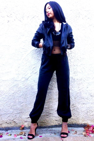 Please jacket - mesh crop top evil twin top - Maggie Ward pants