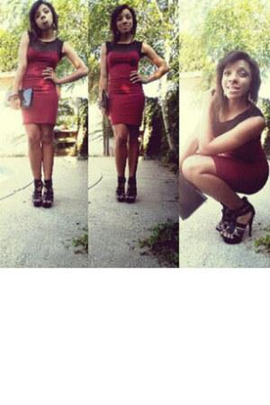 black Forever 21 bag - ruby red Forever 21 dress - black reflections heels