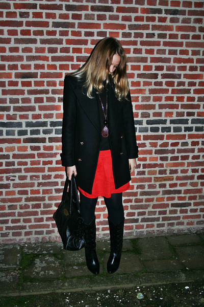 vintage boots - Sfera dress - Zara coat - Mulberry bag