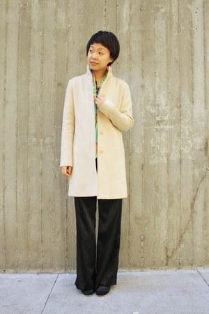 cream wool emanuel ungaro coat - aquamarine H&M scarf - black camper sandals
