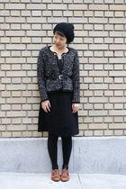 black Zara cardigan - Target skirt - H&M hat - etienne aigner belt - brown miz m