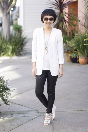 black royal mint leggings - white Theory blazer