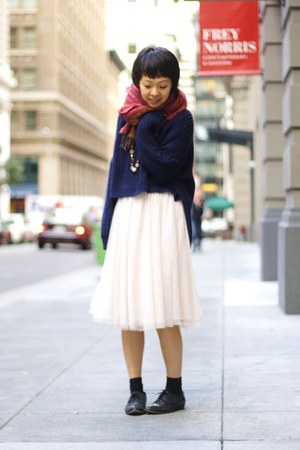 navy thrifted sweater - ruby red Anthropologie scarf - peach H&M skirt