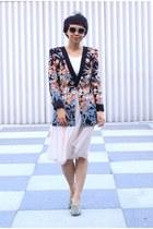 hot pink floral BCBG blazer - sky blue sandals