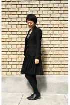 black Theory blazer - silver thrifted necklace - black Forever 21 skirt