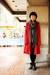red trench da nang coat - heather gray merino wool BCBG cardigan
