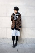 dark brown cheetah print Zara cardigan - black oxford Aldo shoes
