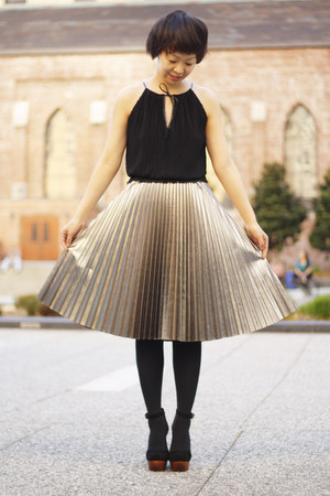 black Jeffrey Campbell shoes - silver pleated H&amp;M skirt