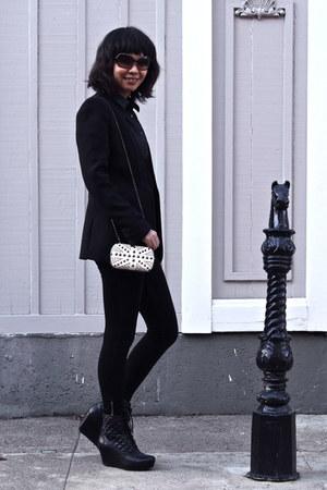 white clutch purse - black Zara blazer