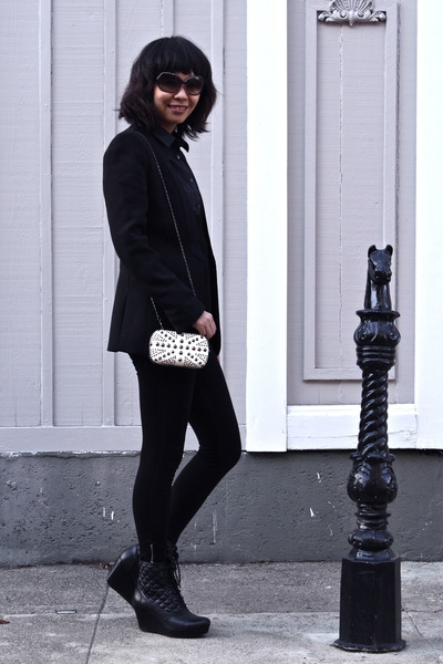 white clutch purse - black Zara blazer