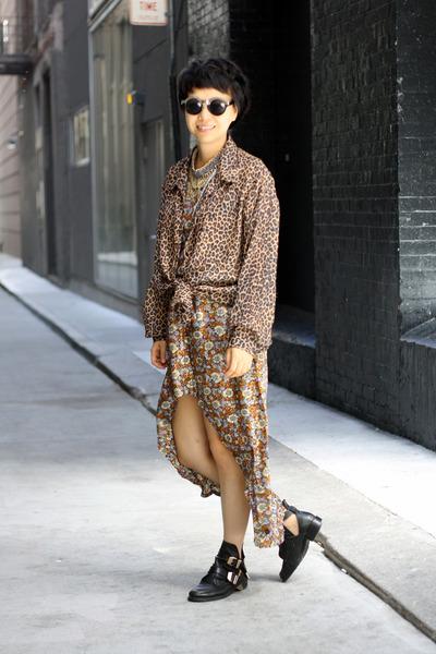 brown leopard print vintage shirt - black cutout Choies shoes - vintage dress