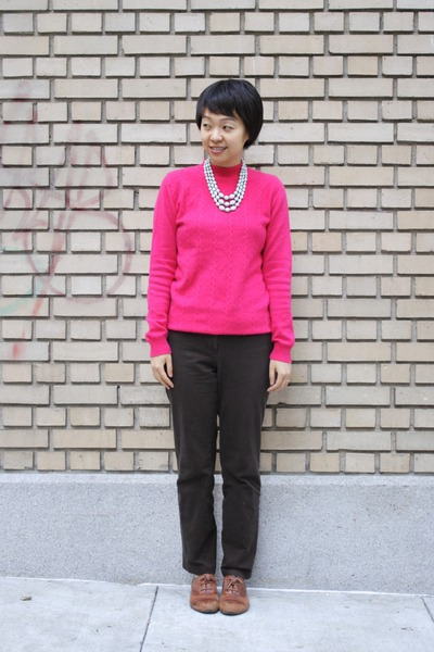 light brown miz moz shoes - hot pink hot pink sweater - dark brown ann taylor pa