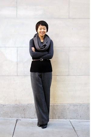 black alpaca Helen Wang vest - charcoal gray wool HiDeSan pants - dark brown lea