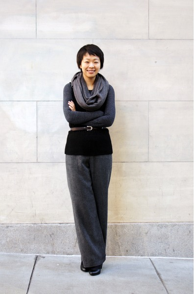 black alpaca Helen Wang vest - charcoal gray wool HiDeSan pants - dark brown lea