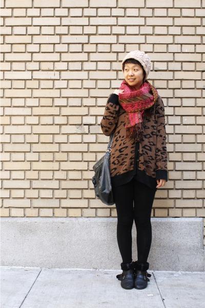 black shearling Zara boots - maroon Anthropologie scarf - brown leopard print Za