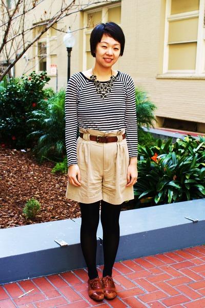 black Zara top - beige Zara shorts - brown miz mooz shoes - ForLove 21 necklace
