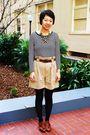 Black-zara-top-beige-zara-shorts-brown-miz-mooz-shoes