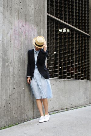 blue dress - white Keds shoes - blue Zara blazer