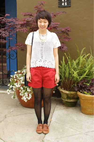 black cynthia rowley tights - ruby red cynthia steffe shorts - white crochet H&M