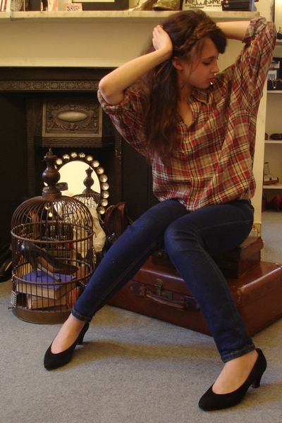 black vintage shoes - blue Topshop jeans