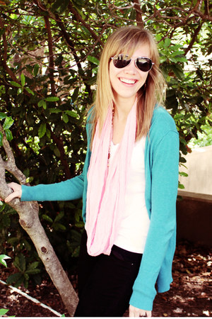turquoise blue Target cardigan - black Old Navy jeans