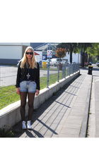 H&M blouse - blue Cubus shorts - white Converse shoes - black H&M jacket - black