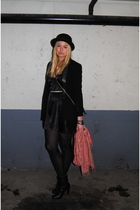 black Zara blazer - black Bik Bok dress - black Bik Bok hat - red H&M scarf - bl